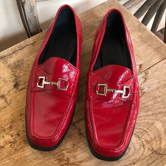GUCCI Shoes - GUCCI Red Equestrian Horse Bit Loafers 38 8 ITALY!